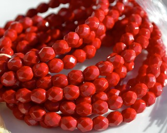 Lipstick Red 6mm Faceted Fire Polish Round Beads  25