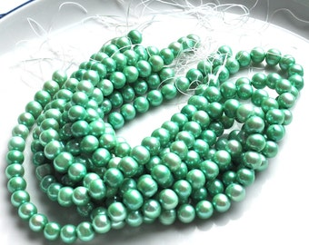 Tropical Green 8mm Round Potato Freshwater Pearl Beads    SPRING 2011