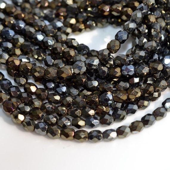 100 Brown Iris Fire Polish Czech Glass 3mm beads