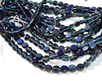 Montana BLue Midnight 10mm Faceted Fire Polish Coin Beads  25