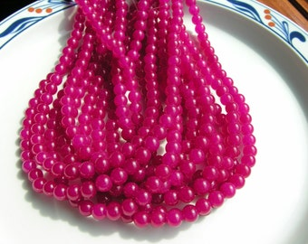 Deep Fuschia Jade 8mm Round Beads  FULL STRAND