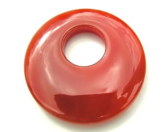 Red Agate Donut Pendant Bead  ONE