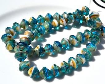 Capri and White Mix Saturn Czech Glass Round Beads  10