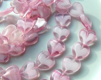 Candy Pink  Heart Beads  Czech Glass    10    VALENTINES