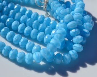 Sky Blue Silk 8x6mm Faceted Rondelle Beads  25