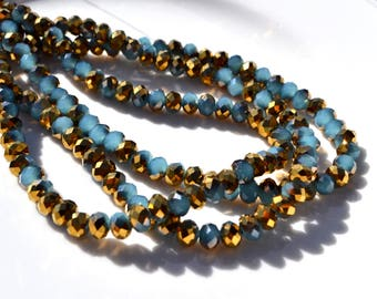 Aqua and Brass 6x4mm Crystal Rondelle Beads 25