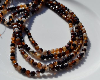 Brown Medley 4mm Faceted Agate Rounds FULL STRAND