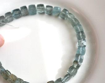Moss Aquamarine 5mm Gemstone Cube Beads  6