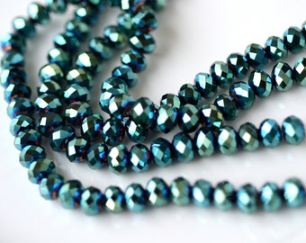 Metallic Green Faceted Rondelle Crystal Beads    10