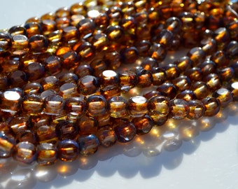 Topaz Picasso 3 Cut 6mm Round Beads 25