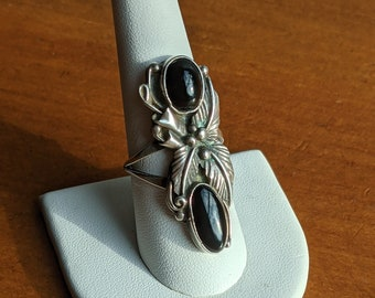 Vintage Southwestern Double Onyx and Sterling Silver Statement Ring