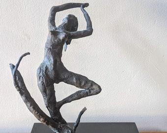 Vintage Carl Tasha Brutalist Bronze Sculpture Dancing Woman in Grass