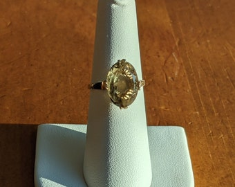 Antique Smoky Quartz and Sterling Silver Statement Ring