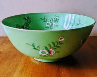 Vintage Large Bright Green Pink and White Cherry Blossom and Anemone Decorative Polychrome Porcelain Bowl Japan Decorated in Hong Kong