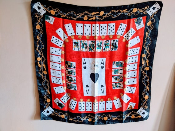 Vintage 1990's Moschino Couture Playing Cards Silk