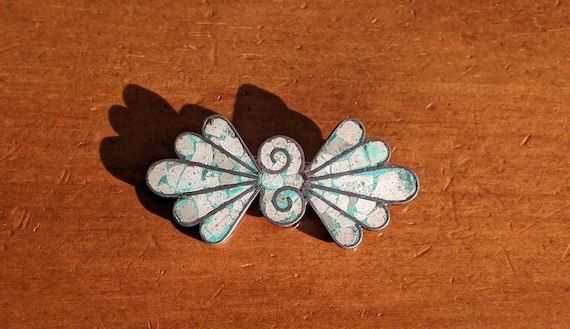 Vintage 1950's Taxco Sterling and Turquoise Fan Br