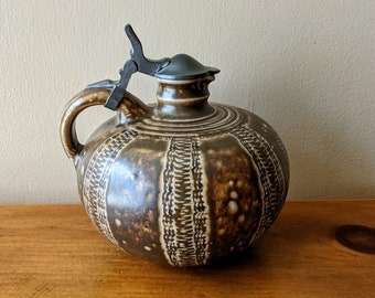 Antique German Stoneware and Pewter Lidded Syrup Pitcher Jugendstil Era