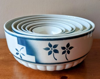 Vintage 1930's Ruwaha Germany Ironstone Nesting Bowl Set in Blue and White 7 Piece