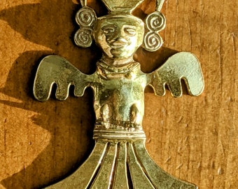Vintage Castlecliff Large Aztec Warrior Pendant Larry Vrba Statement Runway Piece Tribal