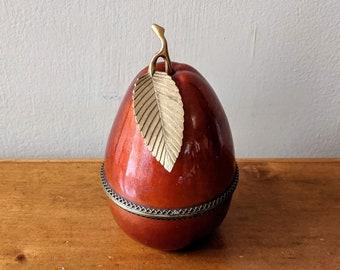 Vintage 1950's Large Pear Shaped Evans Enameled Table Lighter in Burnt Orange