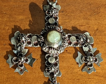 Vintage Mexican Wedding Cross Pendant in Sterling Silver and Prehnite Taxco