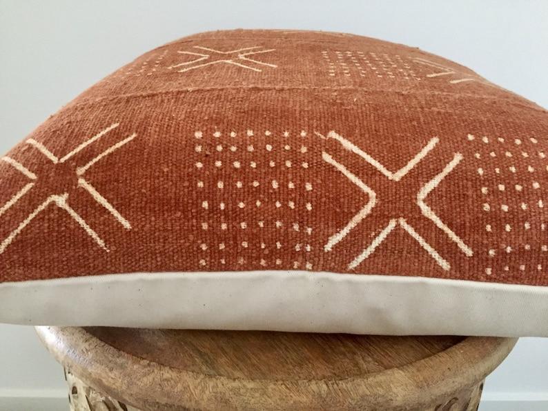 50cmx50cm 20x20 Rust African mud cloth pillow-rust mud cloth cushion cover-authentic mud cloth rust
