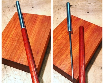 The classy Ice Pick. Machined in Aluminum and Padauk Wood. Linseed Oil Finish.