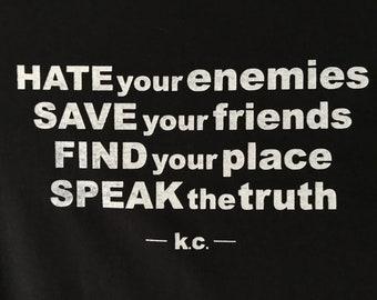 "Kurt Cobain ""Save your friends"" screenprinted T-shirt NIRVANA"