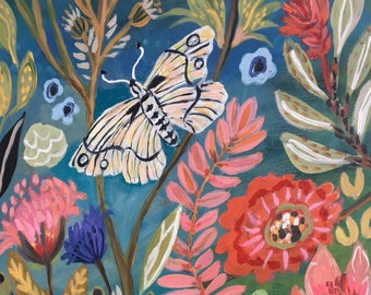 Butterfly Flowers Original Painting on 18 x 24 Paper by Karen Fields
