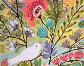 Love Birds in Garden Flower Landscape Painting on 18 x 24 Paper by Karen Fields