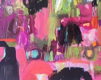 Abstract Painting Modern Art Original Mixed Media 24 x 36 Deep Canvas by Karen Fields