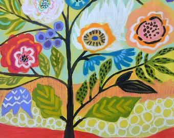 Flower Tree 2 Folk Floral Painting on 18 x 24 Paper by Karen Fields