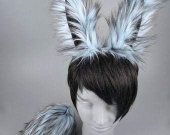Ice Blue Bunny Ears and Tail, Rabbit Ears and Tail