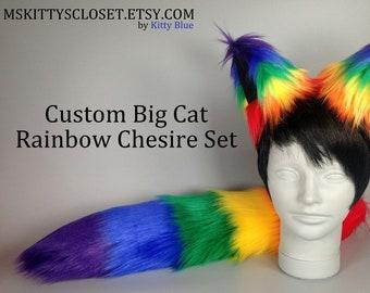 Rainbow Big Cheshire Set - Pride Furry Set - Rainbow Cheshire Ears - Rainbow Cheshire Tail - Rainbow Raccoon Tail - Rainbow Faux Fur