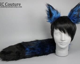 blue wolf ears etsy