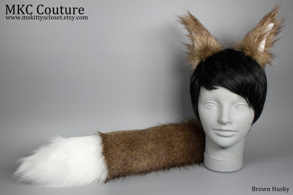 Husky Wolf Tail Faux Fur with Clasp