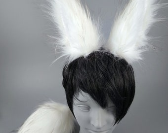 White Arctic Bunny Ears and Tail, Rabbit Ears and Tail