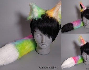 Rainbow Fox  Costume  - Fox Ears and Fox Tail -  Ready to Ship - Wolf Costume - In Stock Item