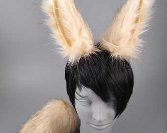 Beige Arctic Bunny Ears and Tail, Rabbit Ears and Tail