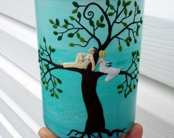Have a Customized Wedding Bride and Groom in a Tree of Life Candle Holder Made with Names and Wedding Date on the Back