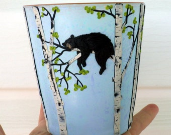 Black Bear Napping in a Birch Tree Sculpted with Polymer Clay onto a Recycled Glass Vase in Light Turquoise and Pale Periwinkle