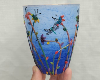 Dragonfly in a Hypercolor Garden Sculpted with Polymer Clay onto a Recycled Glass Candle Holder in Ombré Blues