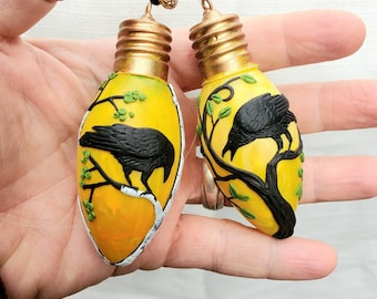 Two Cantankerous Crows in Trees Sculpted with Polymer Clay onto Dead Recycled Christmas Lights in Autumn Colours