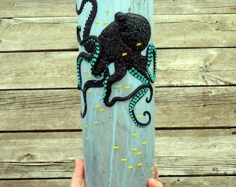 Black Kraken/Octopus Sculpted with Polymer Clay onto a Recycled Glass Vase in Blue Grey