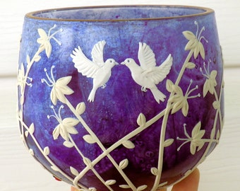 Two Doves and Wildflowers in White Wedding or Anniversary Gift Heavy Recycled Glass Candle Holder in Blue Violet
