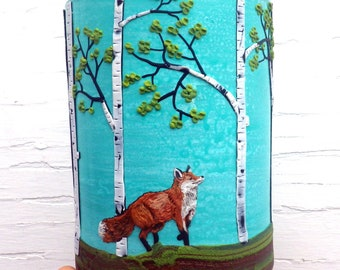 Red Fox out for a Jaunt in a Birch Tree Woodland Sculpted with Polymer Clay onto a Recycled Glass Candle Holder in Turquoise
