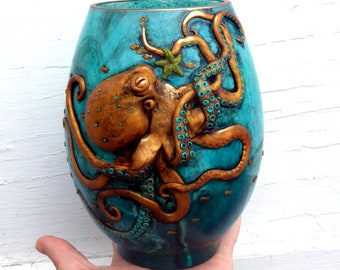 Curious Copper Octopus Sculpted with Polymer Clay onto a Recycled Glass Vase /Candle Holder in Teal and Turquoise