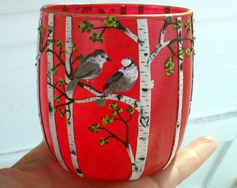 2 Canadian Gray Jays in Love in a Birch Woodland Sculpted with Polymer Clay onto a Recycled Glass Candle Holder in Hot Red