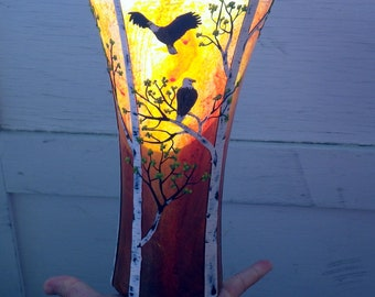 Two Bald Eagles in Autumn Birch Tress Sculpted with Polymer Clay onto a Recycled Glass Art Vase