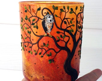 What's Up Barn Owl in a Tree Sculpted with Polymer Clay onto a Recycled Glass Candle Holder in Autumn Colors